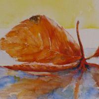 Herbstblatt auf dem Wasser<br />                            50x50           Fr. 650
